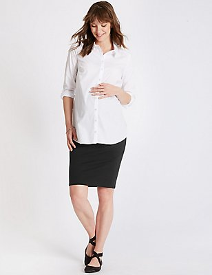 Textured Maternity Skirt, BLACK, catlanding