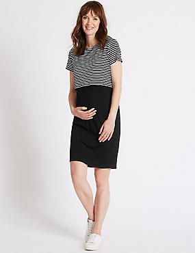 Maternity Striped Dress, BLACK MIX, catlanding