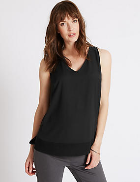 Maternity Vest Top, BLACK, catlanding