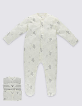 3 Pack Pure Cotton Unisex Skin Kind™ Assorted Sleepsuits