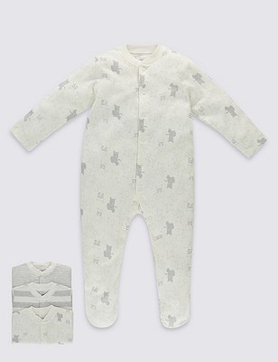 3 Pack Pure Cotton Unisex Skin Kind™ Assorted Sleepsuits, GREY MARL, catlanding