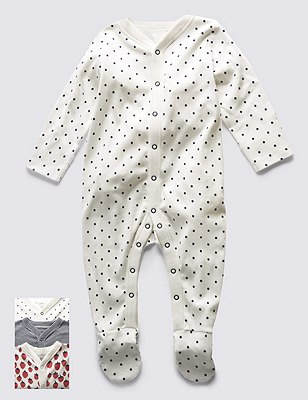 3 Pack Pure Cotton Skin Kind™ Assorted Sleepsuits, RED MIX, catlanding
