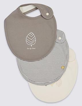 Lot de 3bavoirs bébés 100% coton biologique, CRÈME ASSORTI, catlanding