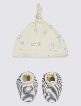 Pure Cotton Organic Baby Hat & Booties, CREAM MIX, catlanding