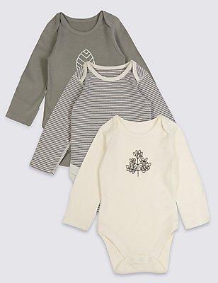 3 Pack Pure Cotton Baby Organic Bodysuits, GREY MIX, catlanding