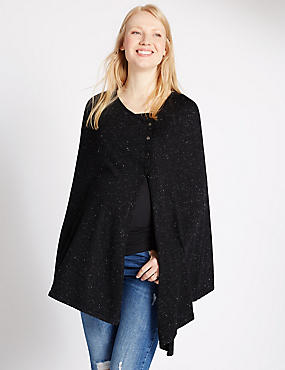 Maternity Twinkle Poncho Cape, CHARCOAL, catlanding