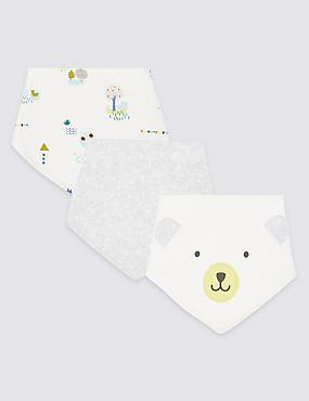 3 Pack Pure Cotton Dribble Bibs, WHITE MIX, catlanding