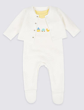3 Piece Quilted Dungaree and Jacket Outfit, WHITE MIX, catlanding