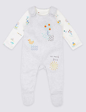 2 Piece Pure Cotton Bodysuit & Dungaree Outfit, WHITE MIX, catlanding