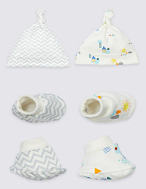 2 Pack Pure Cotton Hat & Booties, WHITE MIX, catlanding