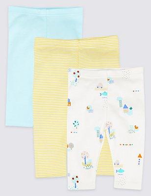 Leggings aus reiner Baumwolle (3er Pack), WEISS MELANGE, catlanding