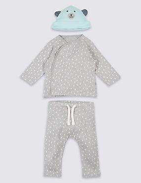 3-teiliges Outfit aus reiner Baumwolle mit Oberteil, Hose und Mützchen, GRAU MELANGE, catlanding