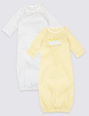 Pack de 2 saquitos de bebé 100% algodón, MEZCLA DE TONOS BLANCOS, catlanding