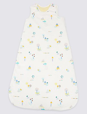 Pure Cotton All Over Print 2.1 Tog Sleeping Bag, WHITE MIX, catlanding