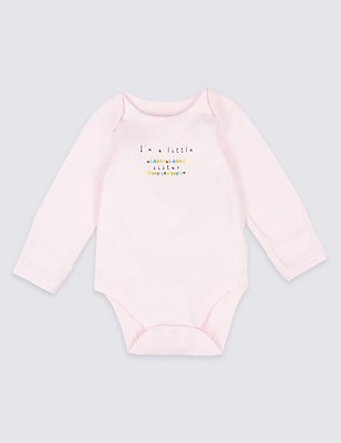 Pure Cotton Long Sleeve Bodysuit, LIGHT PINK, catlanding