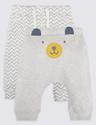 2 Pack Pure Cotton Applique Face Joggers, MID GREY MARL, catlanding