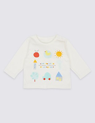 Welome Little One Pure Cotton Top, WINTER WHITE, catlanding