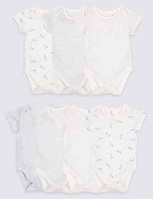 7 Pack Unisex Printed Pure Cotton Bodysuits, GREY, catlanding