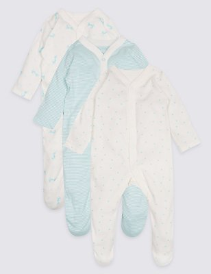 3 Pack Unisex Pure Cotton Sleepsuits, AQUA, catlanding