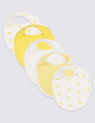 5 Pack Pure Cotton Bibs, YELLOW, catlanding