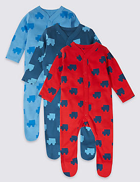 3 Pack Car Print Pure Cotton Sleepsuits, MULTI, catlanding