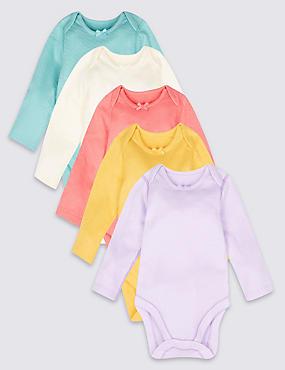5 Pack Pure Cotton Bodysuits, MULTI, catlanding