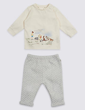 2 Piece Winnie the Pooh & Friends Top & Bottom Outfit, VANILLA, catlanding