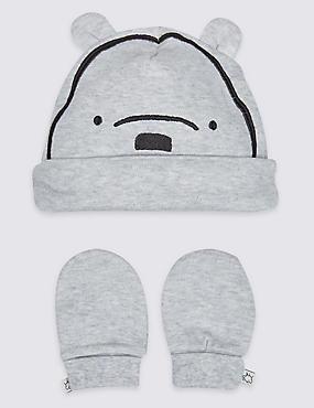 2 Piece Winnie the Pooh & Friends Hat & Mittens Set, WINTER WHITE, catlanding