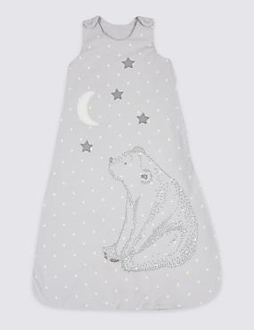 Pure Cotton 1.6 Tog Applique Unisex Sleeping Bag, GREY MIX, catlanding