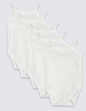5 Pack Flat Seams Pure Cotton Bodysuits , WHITE, catlanding