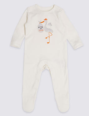 Pure Cotton Born in 2018 Sleepsuit, WINTER WHITE, catlanding