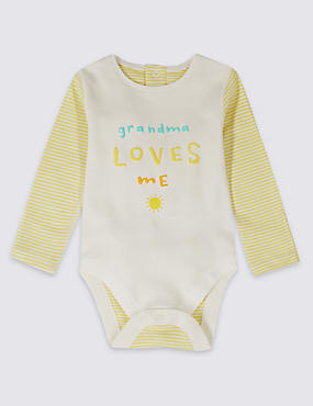Striped Pure Cotton Bodysuit, WHITE MIX, catlanding