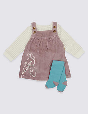 3 Piece Peter Rabbit™ Pinafore & Bodysuit with Tights, TAUPE MIX, catlanding
