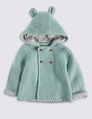 Pure Cotton Chunky Hooded Cardigan, TEAL, catlanding