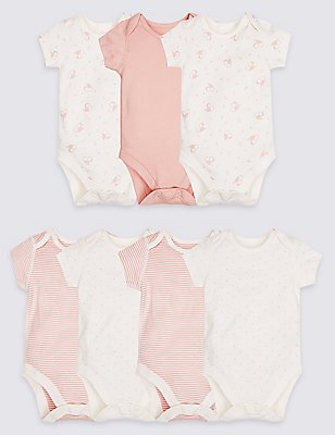7 Pack Animal Print Pure Cotton Bodysuits, MEDIUM PINK, catlanding