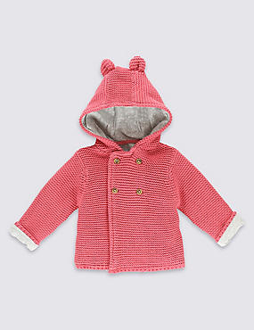 Pure Cotton Chunky Knit Hooded Cardigan, RASPBERRY, catlanding