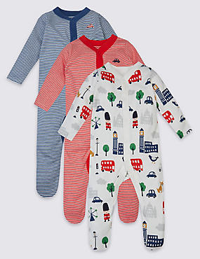 3 Pack Pure Cotton Baby Sleepsuits, BLUE MIX, catlanding