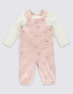 2 Piece Pure Cotton Cloud Print Bodysuit & Dungarees Outfit, PINK MIX, catlanding