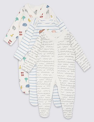 3 Pack Pure Cotton Printed Sleepsuits, WINTER WHITE, catlanding