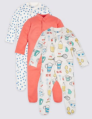 3 Pack Pure Cotton Sleepsuits, MULTI/BRIGHTS, catlanding