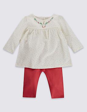 2-teiliges Outfit aus reiner Baumwolle, bestehend aus Tunika mit Punktmuster und Leggings, ROSA MELANGE, catlanding