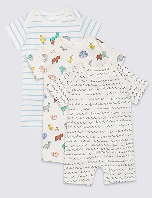 3 Pack Pure Cotton Printed Rompers, WINTER WHITE, catlanding