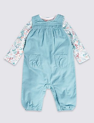 2 Piece Pure Cotton Bodysuit & Dungarees Outfit, TEAL MIX, catlanding