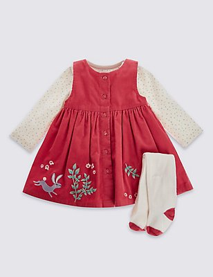 3 Piece Pure Cotton Dress & Bodysuit with Tights Outfit, CORAL MIX, catlanding