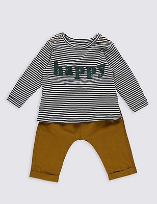 2 Piece Striped T-Shirt & Trousers, DARK BLUE, catlanding