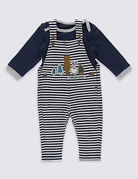 2 Piece Pure Cotton Bodysuit & Dungarees Outfit, NAVY MIX, catlanding