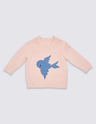 Pure Cotton Knitted Jumper, LIGHT PINK, catlanding