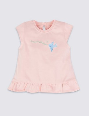 Pure Cotton Embroidered Top, PINK, catlanding