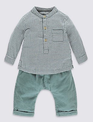 2 Piece Pure Cotton Shirt & Trousers Outfit, TEAL MIX, catlanding