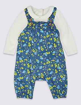 2 Piece Pure Cotton Bodysuit & Dungarees Outfit, NAVY MIX, catlanding